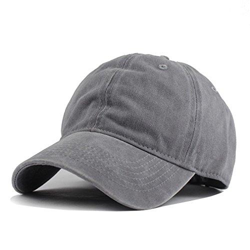 Hh Hofnen Unisex Twill Cotton Baseball Cap Vintage Adjustable Dad Hat  Gray