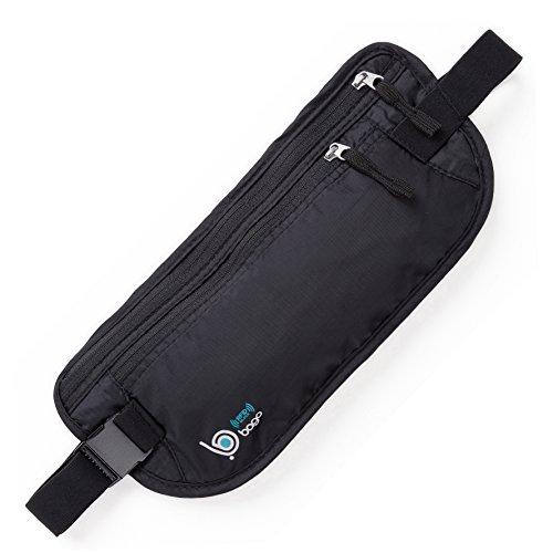 Passport Holder Hidden Waist Belt For Travel Accessories - RFID Blocking (Black)
