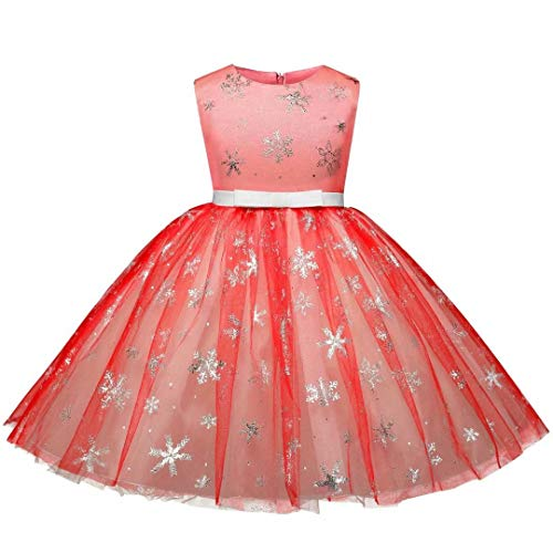 Tsyllyp Girls Princess Party Tutu Dress Elsa Costume Christmas Gown Red -
