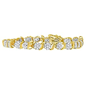 10KT Yellow Gold Round Cut Diamond 'S' Cluster Bracelet (2.00 cttw, I-J Color, I3 Clarity)