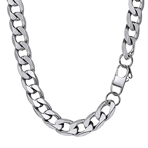 PROSTEEL Cuban Link Necklace Stainless Steel 13mm Big Wide Chain Chunky Choker Necklace 18'' Men Jewelry Gift