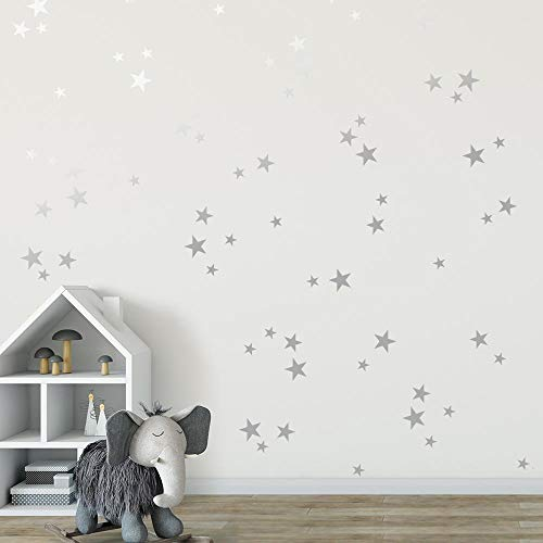 """Silver Stars Mix Removable Wall Decals for Kids Room Decoration +""""100pcs 3-4-5cm""""+Stickers+""""Easy to Peel Easy to Stick"""" + Metallic Vinyl Decor by BUGYBAGY (Silver Stars, Mix)"""