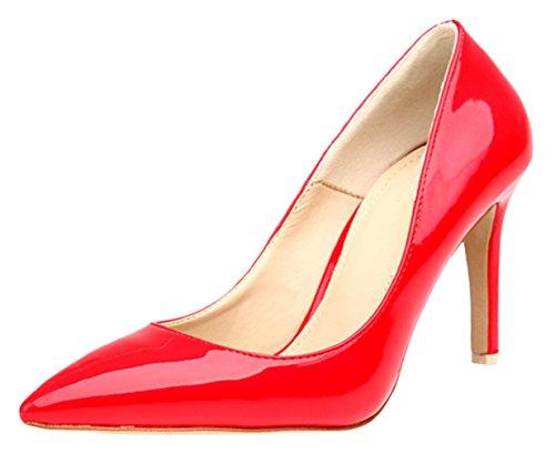 HooH Women's Pointed Toe Stiletto Dress Pumps 0017 red(heel:8cm) HNIFKktLq