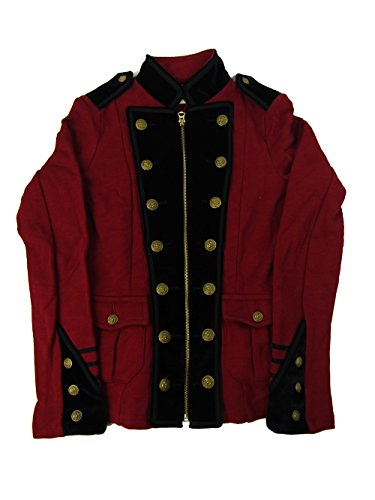 Lauren Womens Velvet Trim Military Jacket Red XS (Trim Jean Jacket)
