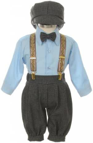 Vintage Dress Suit-Tuxedo Knickers Outfit Baby Boys & Toddler-Blue Houndstooth
