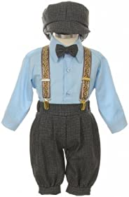 Vintage Dress Suit-Bowtie,Suspenders,Knickers Outfit Set for Baby Boys & Toddler, Houndstooth-Blue-24 Mo