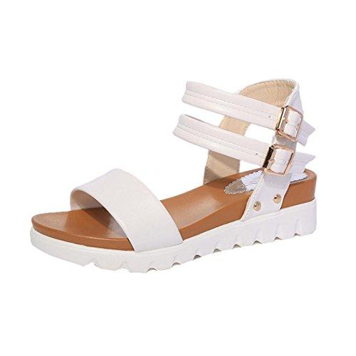 Sandali Estivi, Sandali Flat In Pelle Casual Stile Casual Donna Fashion Inkach Bianco