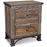 Crafters and Weavers Logan Boulevard Rustic Industrial Solid Wood 2-Drawer Nightstand