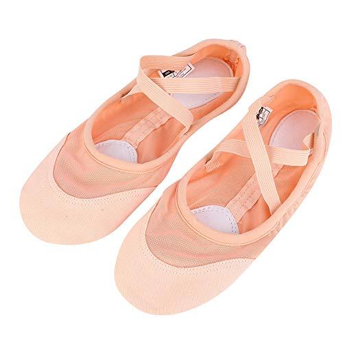 Alomejor Ballet Dance Shoes Soft Dance Women's Dansoft Full Sole Net Cloth Ballet Slipper Dancing Split Sole Shoes(35)