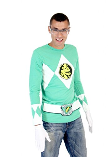 Power Rangers Green Ranger Long Sleeve T-Shirt & Gloves (Adult -