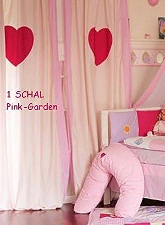 Lenilu - Kinderzimmer VORHANG / GARDINE rosa mit HERZ *Pink Garden ...
