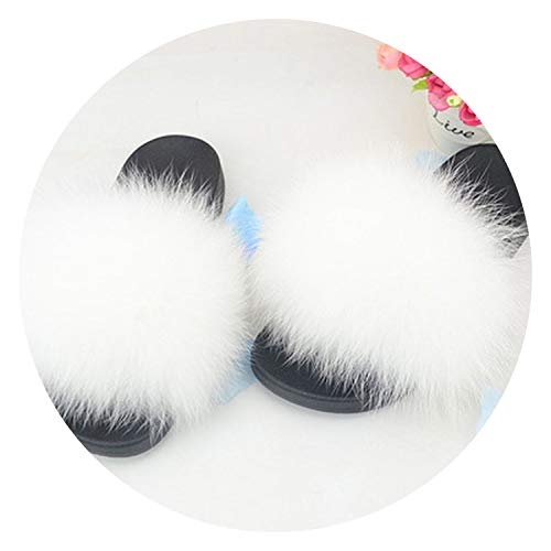 Size 44 Slippers Casual Outdoor Slides Flat Shoes Plush Flip Flops Shoes Woman,White,11 - Lea White Adult Shoes