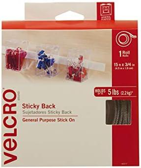Velcro  90277BMXN Cinta Sujetadora con Adhesivo de 4.5m x 1.9 cm, 1 juego, blanco