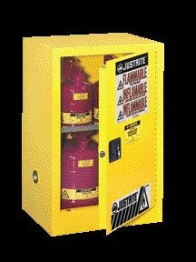Justrite 12 Gallon Yellow Sure-Grip EX 18 Gauge Cold Rolled Steel Compact Safety Cabinet With (1) Manual Close Door And (1) Shelf (For Flammables)