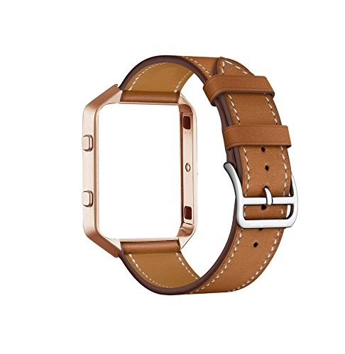 for Fitbit Blaze Band with Frame, CAILIN Genuine Leather Replacement Band with Vintage goldMetal Frame (brown, M)