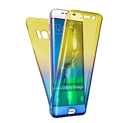 Carcasa para Samsung Galaxy S7 Edge, Funda Samsung Galaxy S7 Edge 360 Grados, EUWLY Full Body Delantera y Trasera Doble Protección Completa Cover Caso Ultra Delgado Degradado de Color Diseño Flexible  Amarillo+Azul