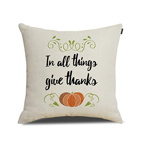 RUOAR in All Thing Give Thanks Pillow Cover Pumpkin Thanksgiving Decoration Cotton Linen Throw Pillow Cover 18x18 inch Thanksgiving Gifts