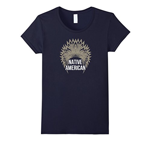 Women's Proud Native American With Chief Headdress Pride T-shirts XL Navy - Native Head Dresses