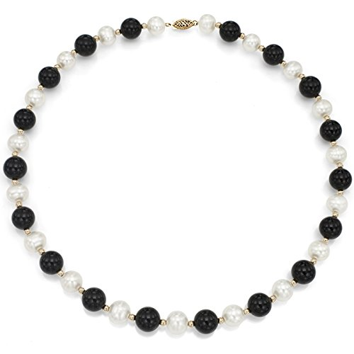 14K-Yellow-Gold-9-95mm-White-Freshwater-Cultured-Pearl-8mm-Simulated-Onyx-Strand-Necklace-18