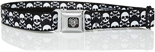 Buckle-Down Men's Seatbelt Belt Kids, Skull/Cross Bones Staggered Black/White, 1.0
