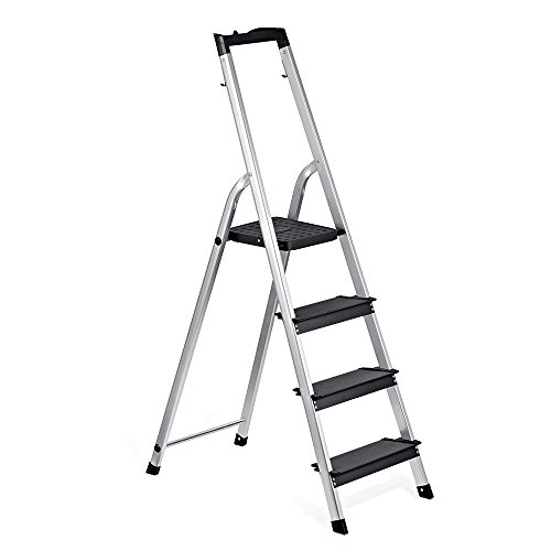 Safety 4 Step Ladder - Delxo Lightweight Aluminum 4 Step Ladder with Tool Tray Folding Step Stool Stepladders Home and Kitchen Step Ladder Anti-Slip Sturdy and Wide Pedal Ladders 330lbs Capacity Space Saving (4 feet)