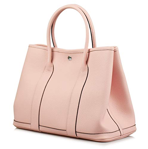 Esyuel Women's Genuine Leather Garden Tote Bag Top Handle Handbags(36CM) (Nude Pink)