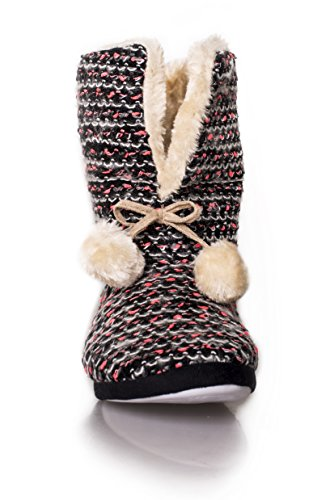 ICONOFLASH Womens Casual Faux Fur Striped Knit Slipper Bootie Hot Pink Multi Nwh6SBV6