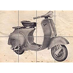 VINTAGE VESPA SCOOTER DRAWING GIANT WALL ART PRINT PICTURE POSTER G1214