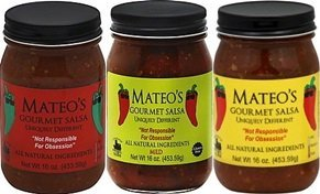 Mateo's Gourmet Salsa 16oz Glass Jar (Pack of 3) Select Heat Level Below (Sampler Pack with 1 of each Heat Level) by Mateo's -