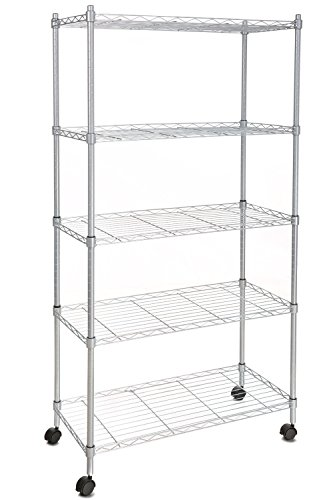 Homdox Wire Shelving 5-Shelf Metal Shelf Unit with Wheels for Kitchen Bedroom Garage Anywhere You Want, Silver - Chrome Commercial Shelf