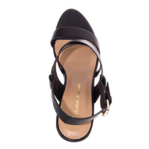 42 Skinn Sandaler Leather Til Imitert I 32 10 5 Eu Størrelser 8 Og 2 Eu Am5134 5 45 wedge Machado 0 Andres Uk 5 35 petite Store Sort wqpSAp