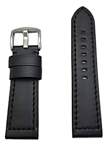 24mm Black Panerai Style Genuine Leather Watch Band   Thick, Smooth, Flat Padded Replacement Wrist Strap Bracelet That Brings New Life to Any Watch (Mens Standard Length) (Replica Panerai)