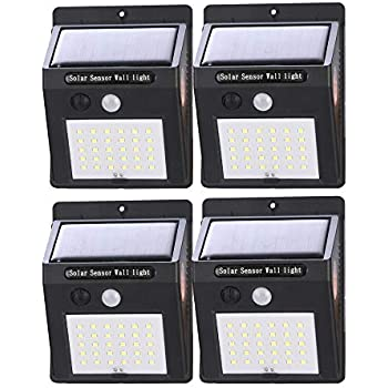 4 Pack BROADSEAL Solar Motion Sensor Lights Outdoor,30 LED Wireless Waterproof Solar Powered Wall Lights,Security Switch AUTO Night Lights for Garden Back Door Step Stair Fence Deck Yard Driveway