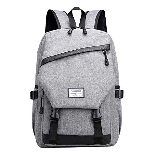 Shmei Travel Laptop Backpack, Casual Backpack Student Bag Outdoor Travel Backpack with USB Charging Port for Women & Men (Gray)