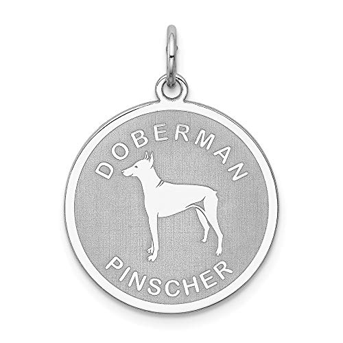 925 Sterling Silver Doberman Pinscher Disc Pendant Charm Necklace Animal Dog Engravable Round Fine Jewelry Gifts For Women For Her -