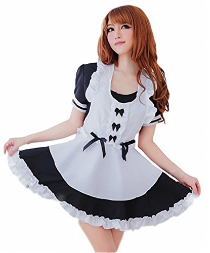 [POJ Costume of Japanese Maid Cafe [ M Size Black for Women with Apron ] Akiba Cosplay] (Reality Tv Characters Costumes)