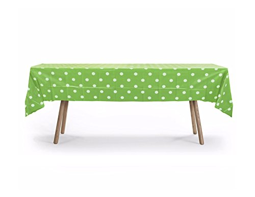 "5 PACK, 54"" x 108"" Lime Green Polka Dot Rectangular Plastic Table Cover, Plastic Table Cloth Reusable (PEVA) (Polka Dot Lime Green)"