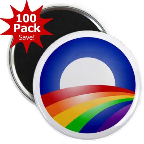 OBAMA Supports Same-Sex Marriage LGBT Rainbow Campaign Logo 100-Pack of 2.25 inch Fridge Locker Magnets by Stare At Me