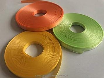 3 bobines x 20 mètres ruban Frisé (vert citron, orange et jaune ...