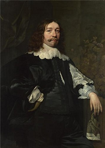 High Quality Polyster Canvas ,the High Quality Art Decorative Prints On Canvas Of Oil Painting 'Bartholomeus Van Der Helst - Portrait Of A Man In Black Holding A Glove,1641', 24x34 Inch / 61x86 Cm Is Best For Garage Artwork And Home Decor And Gifts