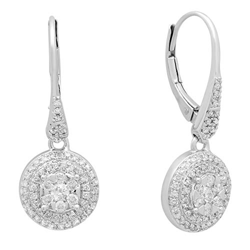Dazzlingrock Collection 0.70 Carat (ctw) 10K Round Diamond Ladies Cluster Flower Shaped Drop Earrings 3/4 CT, White -