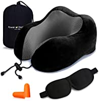 PON Memory Foam Travel Pillow - The Best Neck Pillow with 360 Head Neck Support Perfect for Airplane Car & Home Use