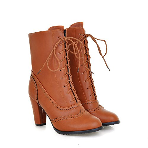 Allhqfashion Women's Lace up Pu Round Closed Toe High Heels Solid Boots with Hollow Out Brown wVymlePBYn