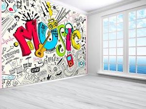 Tennager Music Graffiti Sketch Doodle Wallpaper Photo Wall Mural 2xl