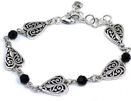 - Brighton Milas Heart Black Bead Bracelet, Rare