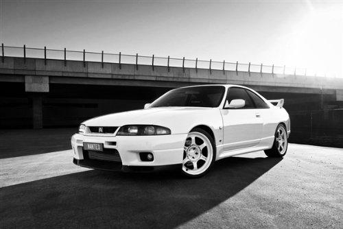 (Driver Motorsports Nissan R33 GTR GT-R Skyline RB26DETT Rays Left Front B&W HD Poster Super Car 36 X 24 Inch Print)