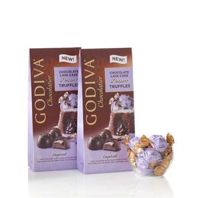 GODIVA Chocolatier Wrapped Chocolate Lava Cake Dessert Truffles, Large Bags, Set of 2, 19 pc. each