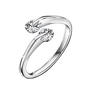 NEOGLORY Adjustable Wedding Rings White for Women