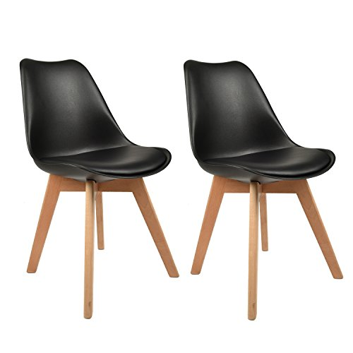 Cheap Set of 2, Eames Style Plastic Molded Side Chairs, PU Padded Modern Natural Wood Wooden Leg, Black Dining Chairs