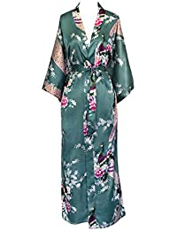 Women's Kimono Long Robe - Peacock & Blossoms